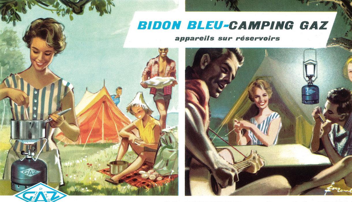 Publicité année 60 Camping gaz/femme cuisinant-homme jouant de la guitare