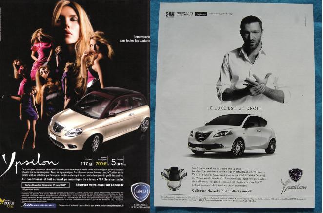 """Deux images sont juxtaposées. A gauche plusieurs silhouettes de femmes très glamour, vêtues de couleurs vives, dominent une voiture dorée. A droite un seul homme, en bras de chemise, au-dessus d'une voiture, la scène est en noir et blanc. Les slogans côté femmes sont peu lisibles, on distingue néanmoins le mot """"Ypsilon"""" et le logo """"Lancia"""". Côté homme on lit : """"Le luxe est un droit""""."""